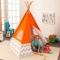 Cort pentru camera Play Teepee Orange w/Gray &White Chevron - KidKraft
