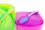 Set castron cu lingurita si capac 6 luni + - Culoare - Turcoaz/Verde