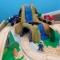 Trenulet din lemn Waterfall Mountain si masa de joaca - Kidkraft
