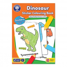 Carte de colorat cu activitati in limba engleza si abtibilduri Dinozaur DINOSAUR