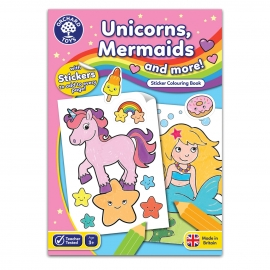 Carte de colorat cu activitati in limba engleza si abtibilduri Unicorni, Sirene si Altele UNICORNS, MERMAIDS AND MORE