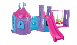 Complex de joaca cu tobogan, leagan si casuta  - CASTLE SWING AND SLIDE