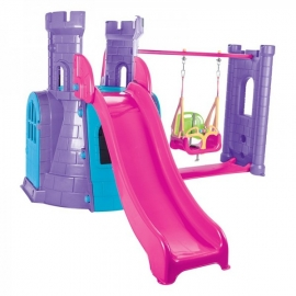 Complex de joaca cu tobogan si leagan Castle Swing and Slide Purple - Pilsan
