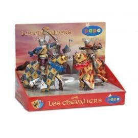 Cutie cavaleri - 4 figurine (arcas cal medieval arbaletier  cal medieval rosu) - Set figurine Papo