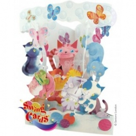Felicitare 3D Swing Cards dinamica model-Pisici jucause