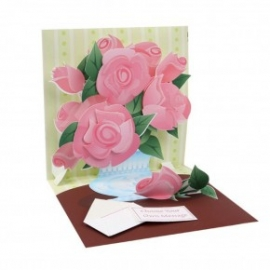 Felicitare 3D Treasure-Buchet de trandafiri roz