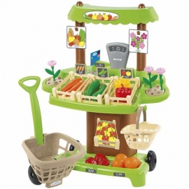 Jucarie educativa cu 35 piese stand de legume Bio cu cos de cumparaturi, Colectia 100% Chef