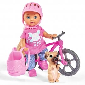 Papusa Simba Evi Love 12 cm Holiday Bike cu bicicleta si catelus