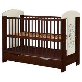 Patut copii din lemn Hubners Carolin Ursulet 120x60 cm venghe cu sertar
