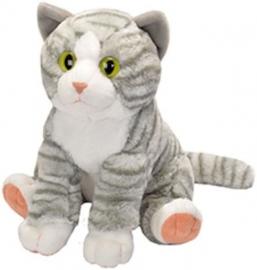 Pisica vargata Gri Alb - Jucarie Plus Wild Republic 30 cm