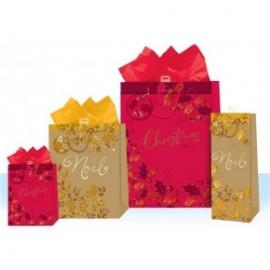 Punga pentru cadou cu tematica de iarna / Craciun - embosate cu folie si sclipici L