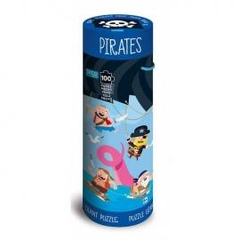 Puzzle (100 piese) cu carte - Pirati