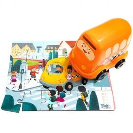 Puzzle din lemn - Autobuzul scolii