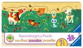 Puzzle Din Lemn Cu Animale, 5 Piese