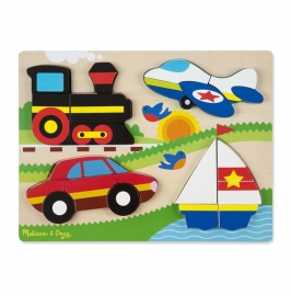Puzzle din lemn cu piese mari Vehicule - Melissa & Doug