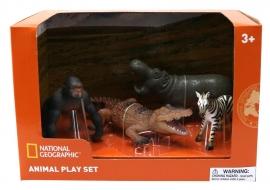 Set 4 figurine - Gorila, Crocodil, Pui Zebra si Hipopotam