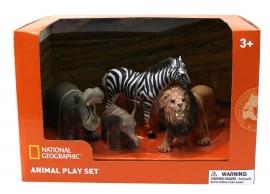 Set 4 figurine - Hipopotam, Elefantel, Zebra si Leu