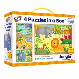 Set 4 puzzle-uri Jungla (12, 16, 20, 24 piese)
