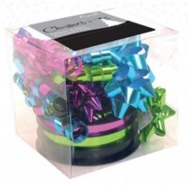 Set accesorii multicolore de impachetat panglica si funde mixt