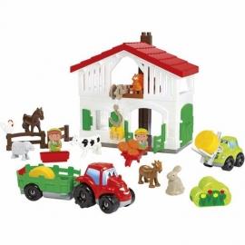 Set Cuburi de Construit Ferma cu Tractor si Animale Abrick