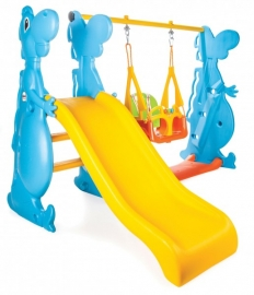 Complex de joaca cu tobogan si leagan  DINO SLIDE AND SWING SET - Pilsan