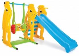 Complex de joaca cu tobogan, leagan si cos de baschet - Squirrel Slider And Swing Set