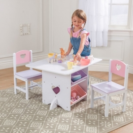 Set masa copii cu spatii depozitare si 2 scaune Heart - Kidkraft