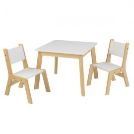 Set masa cu 2 scaune Modern, White - KidKraft