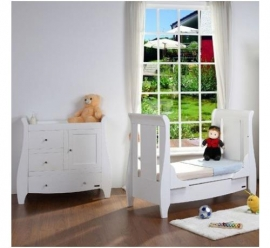Set mobilier Katie Alb format din 2 piese: patut si comoda