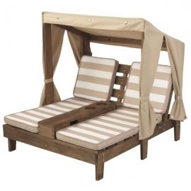 Sezlong  Dublu  pentru  copii Double Chaise Lounge, Espresso & Oatmea - Kidkraft