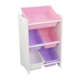 Spatiu depozitare jucarii 5 Bin Storage Unit, Pastel & White - Kidkraft
