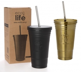 Termos cafea inox Frappe/Fredo cu pai din metal 480 ml, EcoLife - Culoare - Negru
