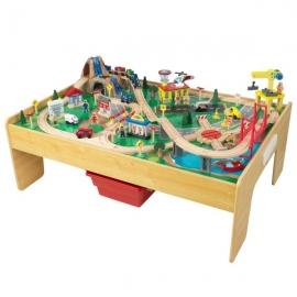 Set trenulete din lemn si masa de joaca Adventure Town Railway - KidKraft