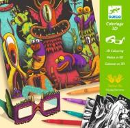 Atelier de colorat 3D Djeco, Monstruleți simpatici