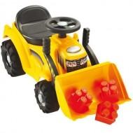 Buldozer Ride-On cu Incarcator Frontal si 6 Cuburi de Construit