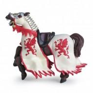 Calul regelui cu blazon dragon (rosu) - Figurina Papo