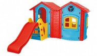 Casuta de joaca dubla cu tobogan - DOUBLE HAPPY HOUSE WITH SLIDE
