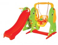 Complex de joaca tobogan, leagan si cos de baschet ELEPHANT SLIDE AND SWING SET - Pilsan
