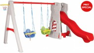 Complex  de joaca cu tobogan si leagane CASTLE SWING AND SLIDE SET - Pilsan