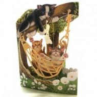 Felicitare 3D Pisici in hamac-Swing Cards