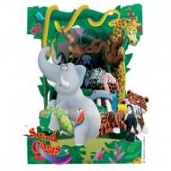 Felicitare 3D Swing Cards dinamica model-Animale din jungla