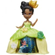 Mini Figurina Disney Princess Tiana cu Rochita Rotativa