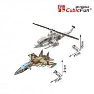 Avion si elicopter de lupta - Colectia de puzzle 3D Super Military