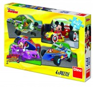 Puzzle 4 in 1 - Mickey Mouse si Minnie la cursa (54 piese)