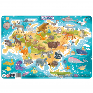Puzzle cu rama - Eurasia (53 piese)