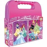 Puzzle in Cutie de Plastic Disney Princess 2 x 48 Piese