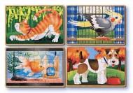 Set 4 puzzle lemn in cutie - Animale de companie