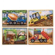 Set 4 puzzle lemn in cutie - Vehicule pentru constructii
