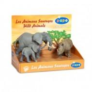 Set figurine Papo Cutie animale salbatice (elefant, elefant pui, rinocer)