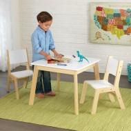 Set masa cu 2 scaune Modern Table, White - Kidkraft